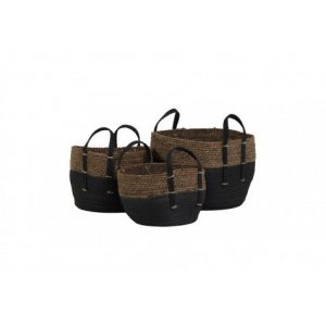 Set of 3 Black Based Storage Baskets