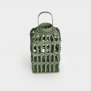 Green Talia Wood Hurricane Lantern
