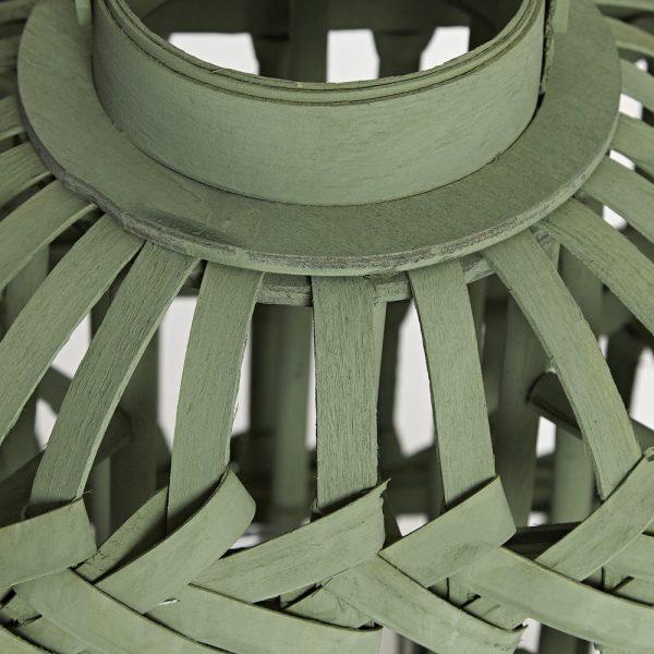 Green Talia Wood Hurricane Lantern