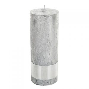 PTMD Metallic Silver Pillar Candle 18x7cm