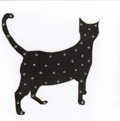 Black Sparkly Cat Greetings Card