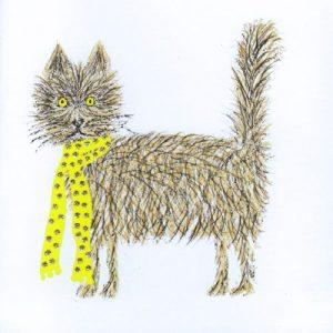 Scruffy Cat Greetings Card