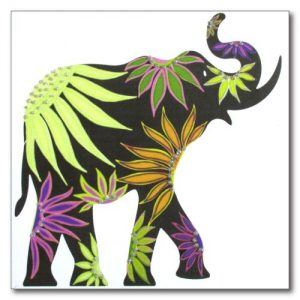 Green Floral Elephant Greetings Card
