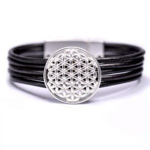 Black Multi Cord Leather Filigree Design Bracelet