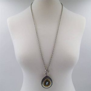 T bar with Beaded Teardrop Necklace