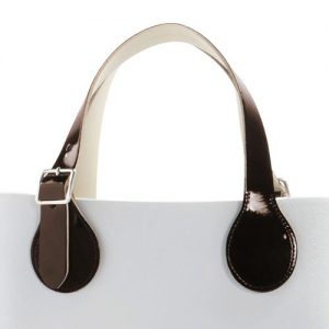 O Bag Short Flat Patent Handles with Buckle Brown