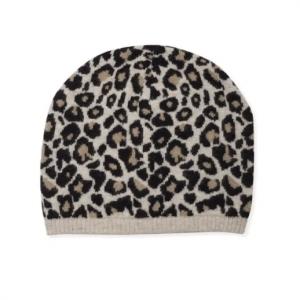 Beanie Cashmere Leopard Black & Caramel