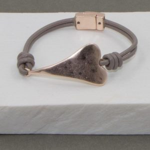 Twin Cord Leather Elongated Heart Bracelet