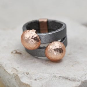 Rose Gold Bead Leather Ring