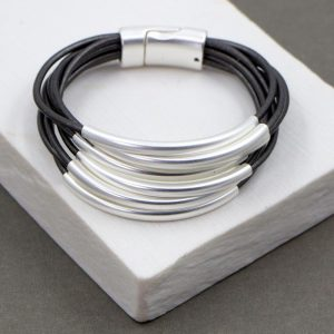 Dark Grey Multi Strand Leather Bracelet with Tubing