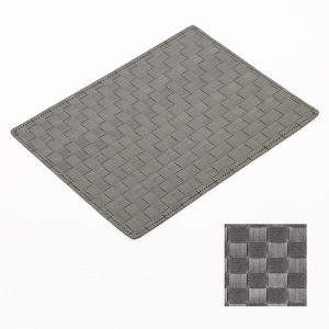Easy Wipe Basket Weave Placemat Dark Grey
