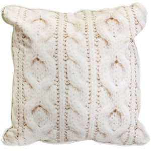 Ecru Cable Knit Square Cushion