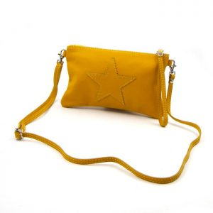 Mustard Leather Star Purse with Cross Body Strap