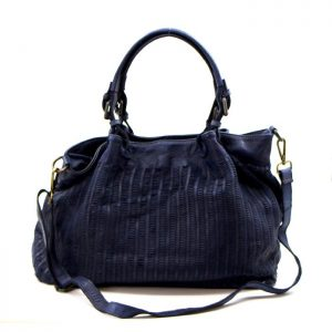 Vintage Washed Italian Leather Handbag Navy