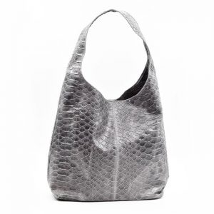 Crocodile Pattern Leather Handbag Grey