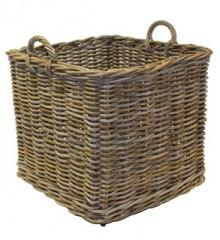 Large Square Log Basket on Wheels