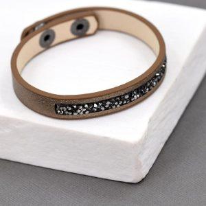 Crystal & Gold Metallic PU Bracelet