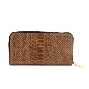 Crocodile Pattern Leather Purse Tan