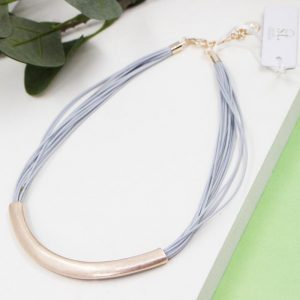 Wax Cord Necklace with Metal Pendant Rose Gold