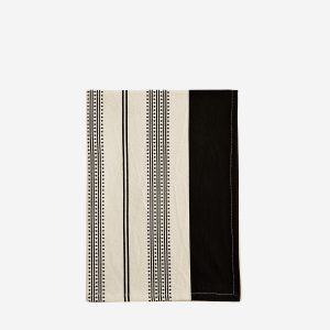 Cotton Black & Ecru Printed Tea Towel