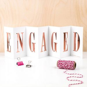 'ENGAGED' Foil Concertina Card