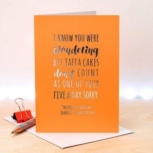 Silver & Neon Orange Jaffa Cake Card
