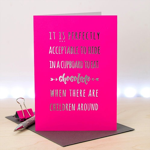 Silver & Pink Chocolate Card