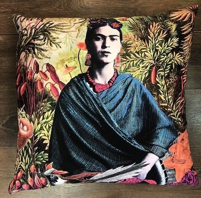 Frida Orange Background Large Cushion 60x60cm