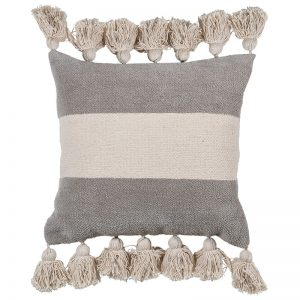 Natural Central Stripe Chenille Cushion