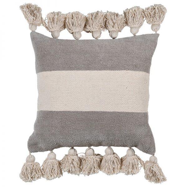 Natural Central Stripe Chenille Cushion