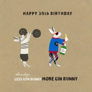 More Gin Bunny Greetings Card