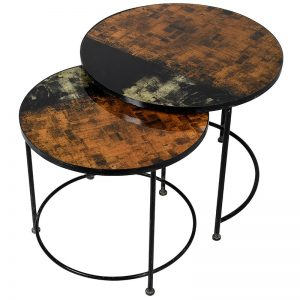 Set of 2 Pattern Glass Top Tables