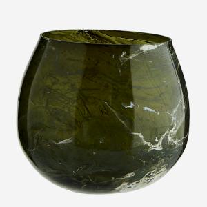 Green Marble Finish Glass Votive