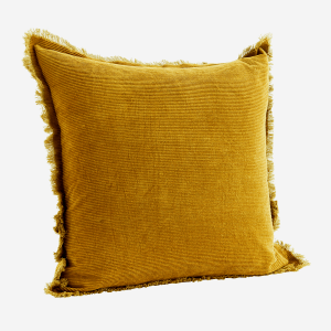 Mustard Fringed Cord Cushion