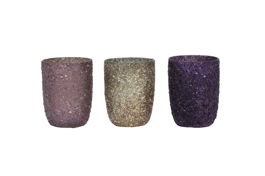 Purple Glitter Tea light Holder