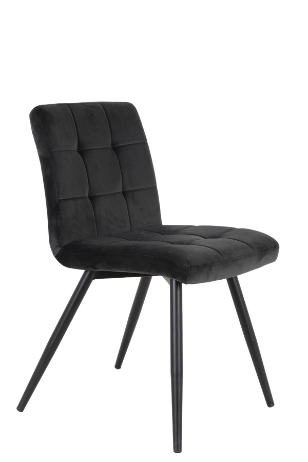 Grey Quilted Velvet Dining Chair