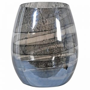 Smoked Marble Effect Glass Vase