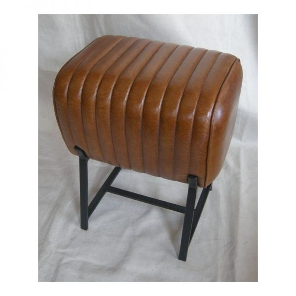 Brown Leather Footstool with Metal Legs