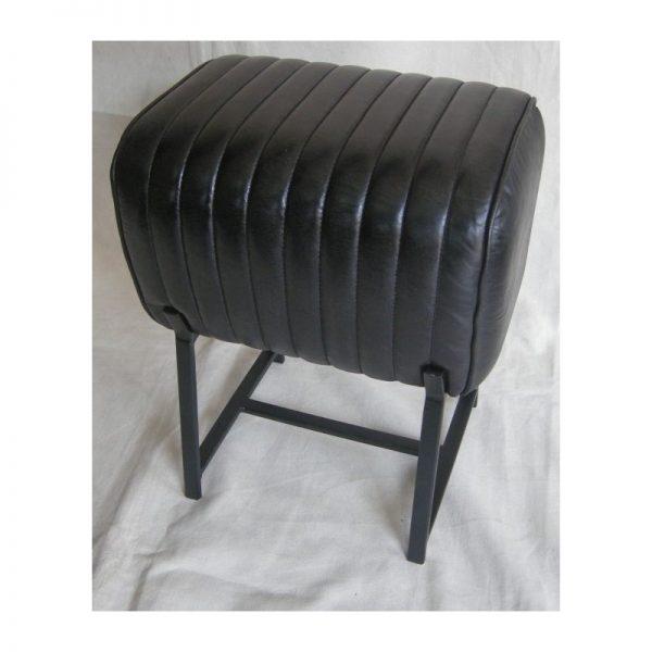 Black Leather Footstool with Metal Legs