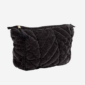 Charcoal Velvet Toilet Bag