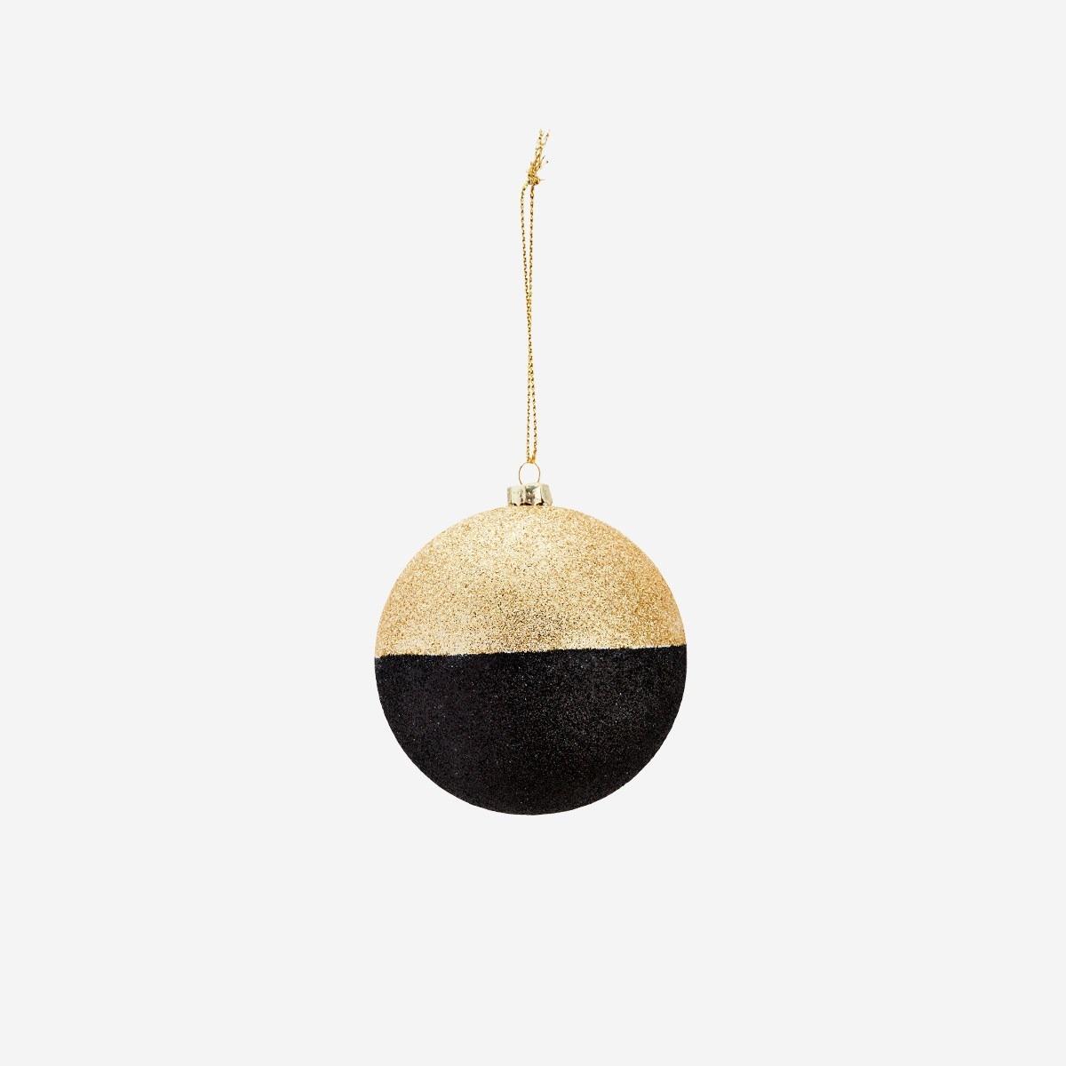 Black & Gold Glitter Ball Decoration