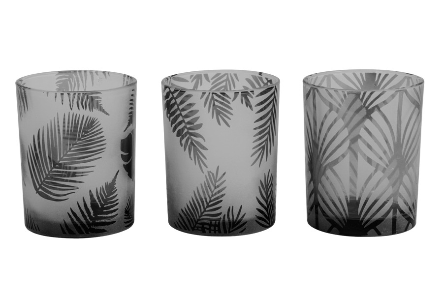 Botanical Grey Tea Light Holder Fern