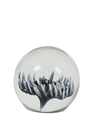 Grey Flower Glass Paperweight Ornament