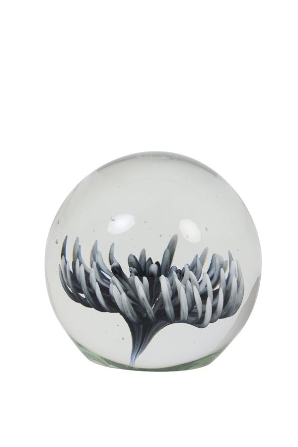 Grey Flower Glass Paperweight Ornament