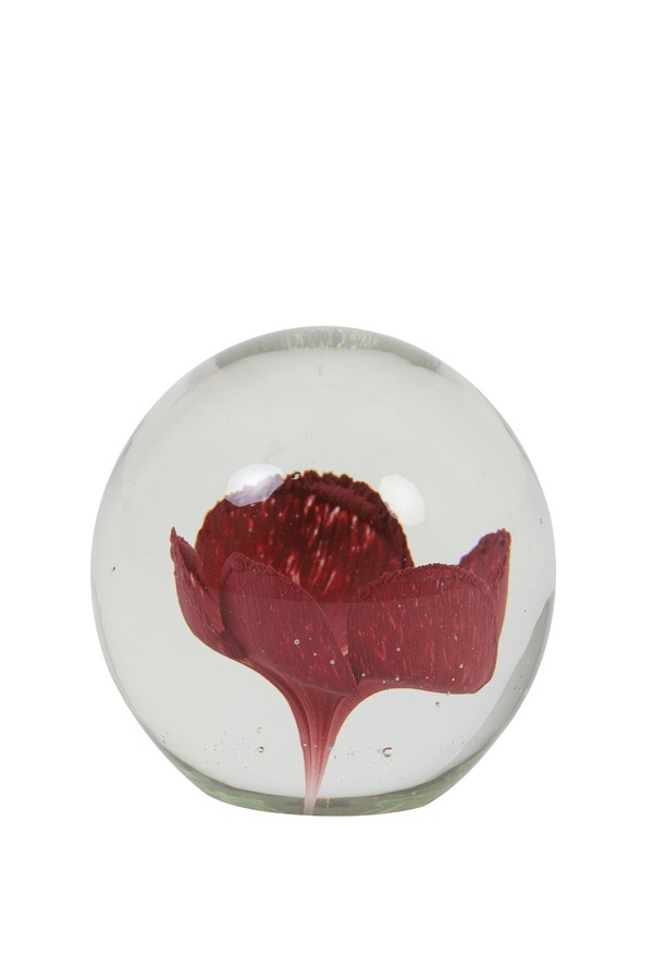 Red Flower Glass Paperweight