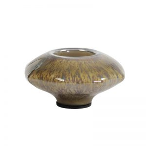 Ochre Glass Tea Light Holder