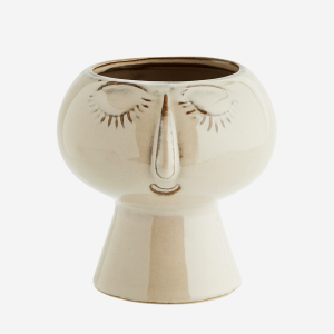 Beige Flower Pot with Face Imprint