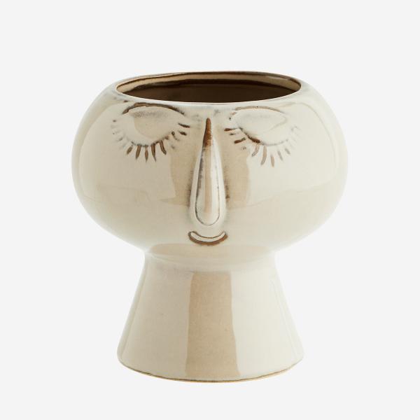 Beige Flower Pot with Face Imprint