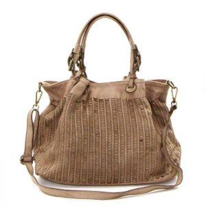 Vintage Washed Italian Leather Handbag Tan
