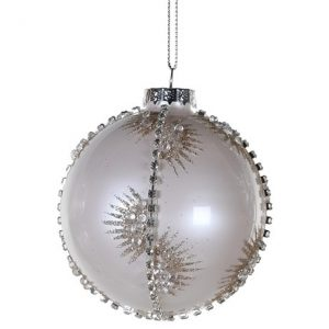 White Diamante Glitter Bauble